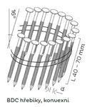 Konvexní hřebíky BDC páskované ve svitku 16°, 2,5x40mm, 10800ks/bal