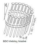 Hladké hřebíky BDC páskované ve svitku 16°, 2,5x50mm, 9000ks/bal
