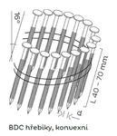 Konvexní hřebíky BCD páskované ve svitku 16°, 2,8x42mm, 9000ks/bal