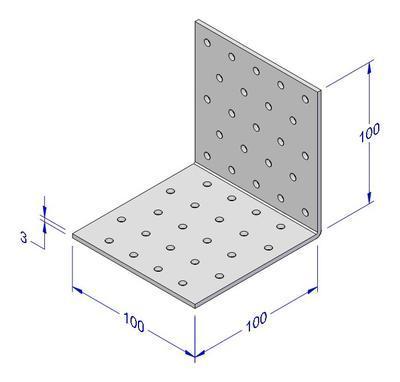 Úhelník hřebíkový 100x100x100x3mm - 1