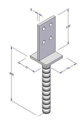 Kotevní patka do betonu T 70x70x130mm