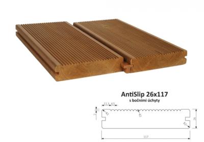 Terasový profil AntiSlip 26x117mm, 1m, s bočnímí úchyty