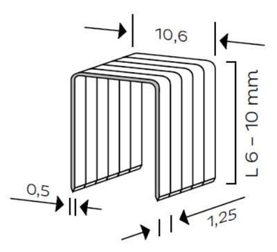 Spona typ L, L - 10mm, 5000ks/bal