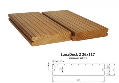 Terasový profil LunaDeck2 26x117mm, 1m, s bočními úchyty
