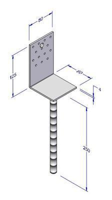 Kotevní patka do betonu typ L 80x80x4
