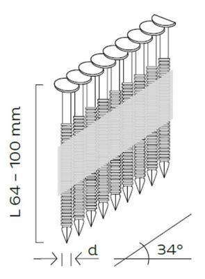 Konvexní hřebíky D34 3,1x90mm, 34°, papírová páska, 3000ks/bal