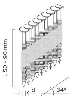 Konvexní hřebíky D34 2,9x80mm, 34°, papírová páska, 2000ks/bal+GAS