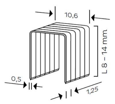Spona typ L, L - 12mm, 5000ks/bal