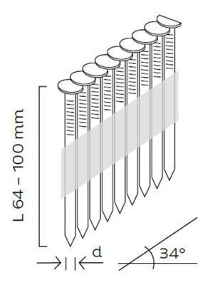 Hřebíky D34 2,8x80mm, 34°, papírová páska, hladké, 3000ks/bal