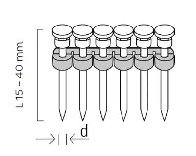 Ocelové hřebíky do betonu typ CN 2,6x35mm, 1000ks/bal