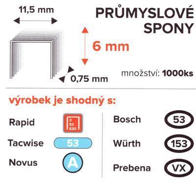 Spony PROFI 6mm/11,5mm 1000ks