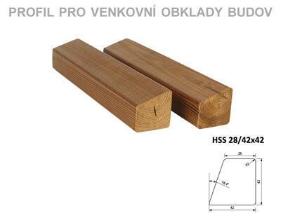 Fasádní profil HSS 28/42x42mm x 3m, 3m