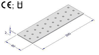 Spojovací deska hřebíková 60x200x2mm - 2
