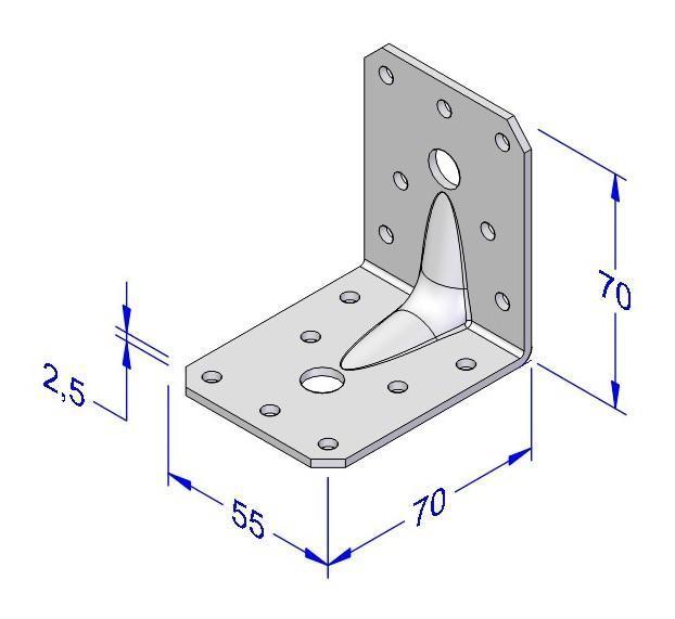 Úhelník kombi s prolisem 55x70x70x2,5mm