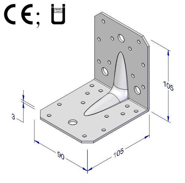 Úhelník kombi s prolisem 90x105x105x3mm
