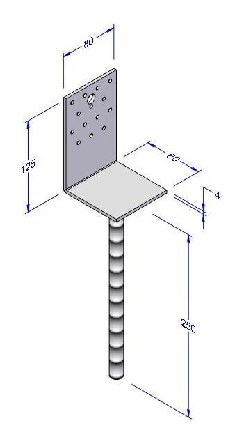 Kotevní patka do betonu L 80x80mm