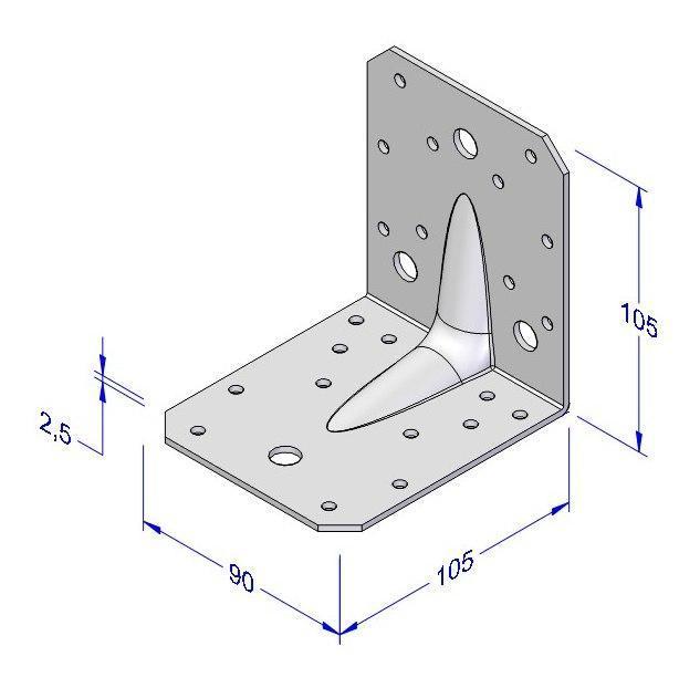 Úhelník kombi s prolisem 90x105x105x2,5mm